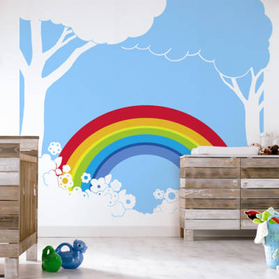 All products wall murals to buy online for Rainbow wallpaper for kids room