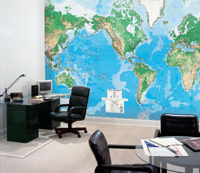 world map wallpaper mural. World Map-C810-Mural